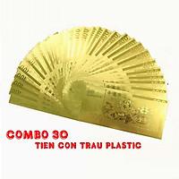 Combo 30 tờ lưu niệm 100 hình con Trâu, chất liệu nhựa plastic mạ một lớp màu vàng, dùng để trang trí trong nhà, làm tiền lì xì dịp Tết Tân Sửu 2021, treo trên cây mai, bỏ vào túi xách - SP005096