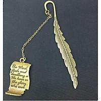 Bookmark kim loại lông vũ mạ đồng quotes