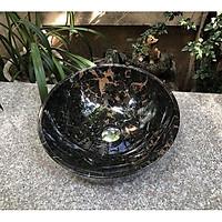 Chậu rửa lavabo đá tự nhiên cao cấp DAV306 – Sắc nâu trầm ấm trong không gian tân cổ điển