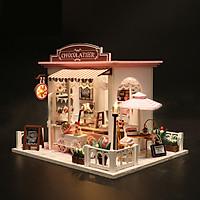 Đồ chơi lắp ghép 3D Mô hình nhà DIY Doll House Chocolatier Kèm Mica Chống bụi
