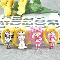 [Trang trí sinh nhật] Bộ 4 Mô hình nhân vật Sailor Moon - Thủy Thủ Mặt Trăng (Có giá đỡ)
