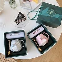 Bộ tách trà cà phê kim cương vân đá - Hộp quà tặng sang trọng