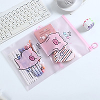 Túi zip đựng bút bóp viết heo hồng cute pig pig nhiều mẫu