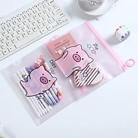 Combo 2 túi đựng bút khóa zip lợn hồng pink pig nhiều mẫu