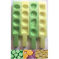 Bộ 4 Khuôn Làm Bánh Phục Linh Bánh Trung Thu Mini Cán Dài  Đủ Mẫu Đa Dạng