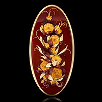 Panel with amber Roses in bloom. Golden border