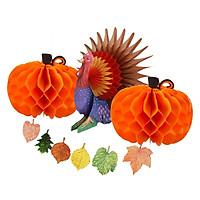 Thanksgiving Paper Pumpkin Turkey Honeycomb Maple Leave Banner Decoration
