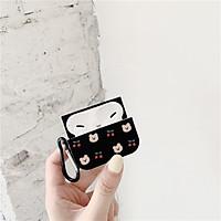 Bao ốp dành cho airpods 1//2/pro, in hình gấu nền đen siêu cute