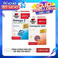 Bộ đôi tăng cường sức khỏe não bộ và tim mạch Doppelherz Omega 3 + Coenzyme Q10 ( 02 hộp 30 viên )