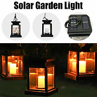 Black Solar Clipped Lamp Hanging LED Umbrella Light Lawn Path Landscape Garden Small Street Lighting