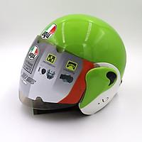 Mũ Bảo Hiểm 3/4 màu trắng pha xanh có kính _ AGU A35 mẫu mới siêu hot