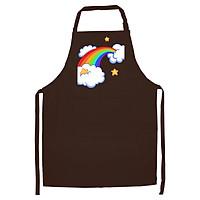 Tạp Dề Làm Bếp In Hình Cầu vòng và mây - ACVDA001 – Màu Nâu