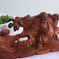Tượng Phật Di Lặc kéo bị vàng gỗ Hương Ngang 20cm x Cao 10cm x Sâu 5cm