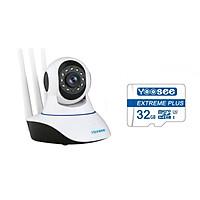 Camera IP Wifi Yoosee 3 Râu HD720P 10 đèn hồng ngoại đàm thoại 2 chiều + Tặng thẻ nhớ Yoosee Extreme Plus 32GB (Trắng)  Hàng Nhập Khẩu
