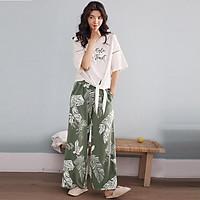 Bộ mặc nhà cotton quần suông loe xanh lá trắng