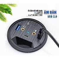 Ổ cắm gắn mặt âm bàn kết nối data gồm 2 USB 3.0, 1 Type C 3.0, 1 cổng tai nghe, 1 cổng Mic, Dan House DESK-2U1C, Tốc độ kết nối lên đến 5Gb/s, hàng chính hãng