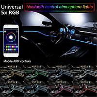 5Pcs 6M RGB LED Car Interior Fiber Optic Neon EL Wire Strip Light Atmosphere APP