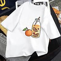 Áo phông, áo thun nam nữ form rộng tay lỡ Unisex CHAI NƯỚC CAM Từ 50-70kg