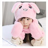 Mũ tai thỏ màu hồng giật giật siêu đáng yêu cho bé yêu