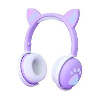 BK1 BT Wireless Headphones RGB Glowing Lights Cute LED Cat Ear Paw Girls Gift Kids Headset Wireless Stereo Bass 3.5mm Plug With Mic