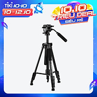 Andoer TTT-005 Aluminum Alloy Tripod Stand Fluid Hydraulic Ball Head Max. Height 65 Inches Max. Load 11lb with Carrying