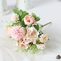 Hoa giả phong cách Châu Âu mẫu đơn hoa hồng chùm 7 nhánh 30cm