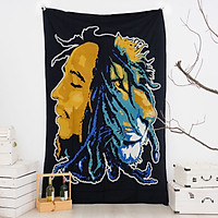 Khăn treo tường hình Bob Marley trang trí size 140cm x 220cm 100% cotton Ấn Độ
