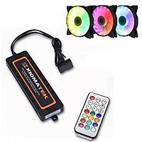 Bộ 03 chiếc (EN40216) Quạt dùng cho máy tính Xigmatek CH120, RAINBOW RGB & 01 bộ (EN41107) Bảng điều khiển dùng cho quạt máy tính CBR1 ( control box +Remote)