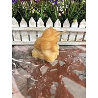 Tượng Cóc Ba Chân, Cóc Ngậm Tiền, Thiềm Thừ phong thủy chiêu tài lộc đá ngọc hoàng long - Dài 7 cm