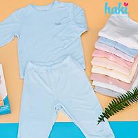 Bộ quần áo sơ sinh cho bé vải sợi tre - bamboo siêu mềm mịn cao cấp - đồ sơ sinh cho bé (4kg - 15kg) - bộ dài tay cho bé - thiết kế cài vai Haki BB004