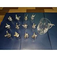 Bộ Ly 12 con giáp hàng màu bạc nhập khẩu nhật bản