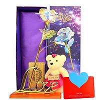 Quà Valentine Ý Nghĩa Tặng Bạn Gái - Hoa Hồng Galaxy Phát Sáng Có Đèn Led Đế Chữ Love Kèm Gấu Bông Nhỏ Và Thiệp Chúc Mừng