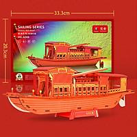 Đồ chơi lắp ráp gỗ 3D Mô hình Thuyền Đỏ Red Boat Laser HG-A048