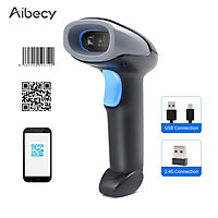Aibecy Handheld Barcode Scanner 1D/2D/QR Code Scanner 2.4G Wireless & USB Wired Bar Code Reader Compatible with Windows