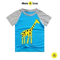 Áo thun cộc tay cho bé trai 4LOVA hoạt hình phối nhiều màu từ 8 - 30kg hàng chính hãng