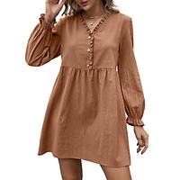 Women Long Sleeve Mini Dress Ruffles V Neck Buttons High Waist Loose Dress