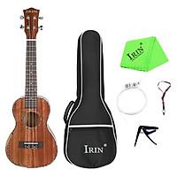 Đàn ukulele IRIN 23inch gỗ ép với bộ dụng cụ thay dây, capo và vải vệ sinh