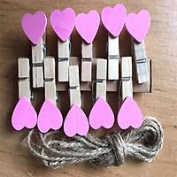 Set 10 kẹp gỗ in hình kute tặng kèm 1 dây thừng trang trí nhà cửa