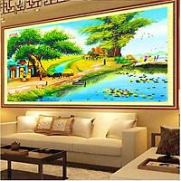 TRANH TREO TƯỜNG QUÊ HƯƠNG - Tranh in 3D quê hương treo phòng khách - Tranh quê hương Việt Nam đẹp đã hoàn thiện khung viền về chỉ cần treo