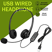 USB Wired Controlled Stereo Headphone Computer Class Working Heaset With Mic For PC Laptop