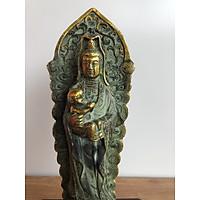 Tượng Phật bà quan âm Bằng đồng màu giả cổ cao 23cm