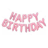 Bong bóng chữ Happy Birthday màu hồng pastel