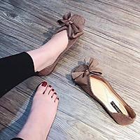 Giày Bệt Nữ Nơ Lụa Chất Vải Dạ Êm Chân