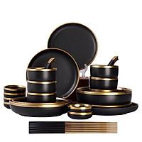 Bộ chén bát đĩa đen sần 32 chi tiết cao cấp