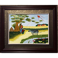Tranh thêu tay- Chăn Trâu Thả Diều