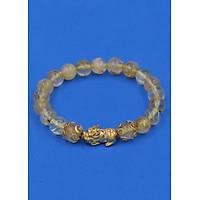Vòng đeo tay Thạch Anh Tóc Vàng 8 ly - cẩn Tỳ Hưu Phong Thủy inox vàng VTATOVTHHKV8 - hợp mệnh Kim, mệnh Thổ