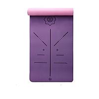 Thảm tập yoga định tuyến TPE 6mm 2 lớp - Tím hồng (Kèm túi và dây buộc)
