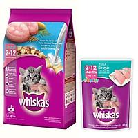 Combo thức ăn cho mèo con Whiskas vị cá biển và sữa 1,1kg + Pate mèo con vị cá ngừ 85g