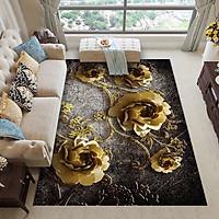 Thảm Bali Trải Sàn Cao Cấp 1m6x2m3 - Họa Tiết Hoa Hồng Vàng