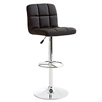 Ghế bar JYSK Hammel đệm da PU màu đen/chân kim loại mạ crom 45x92/113x48cm